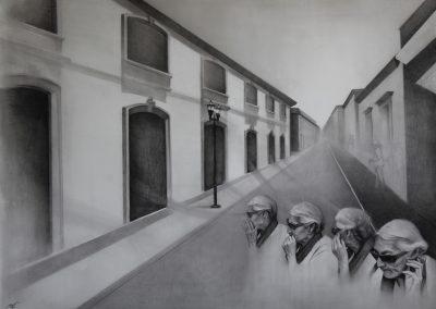 Ciudad de los Espiritus, 138x178cm, carbon sobre papel, 2018