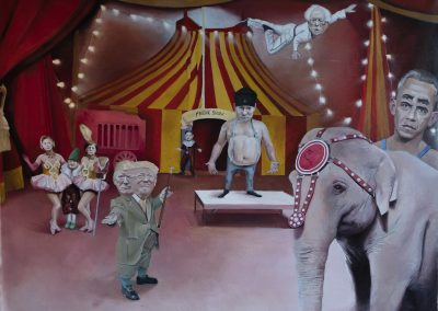 freak-show,6x4.5ft, oleo sobre tela, 2019