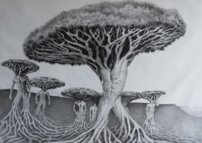 socotra-men, 6x5ft, oleo sobre tela, 2019