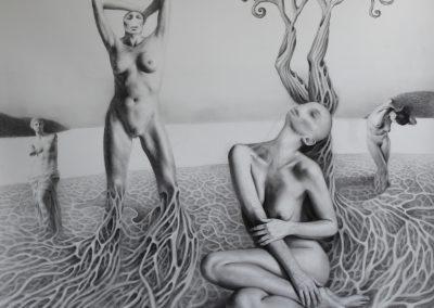 Venusberg, 150x150 cm, 2019, carbon sobre papel