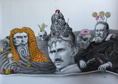 childhoods end, oil and charcoal on paper,110x160 cm, 2020
